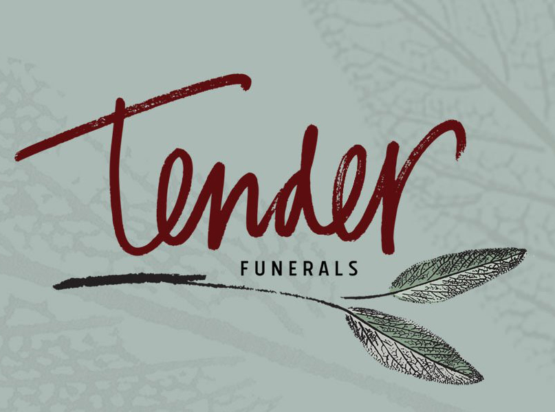 Red scripted text reads Tender with the word Funerals below in smaller font, all against a light green background.